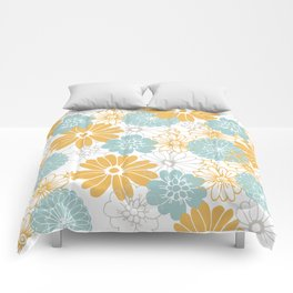 Mustard and tiffany blue flowers Comforters