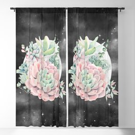 Pink Succulent Full Moon Night Sky by Nature Magick Blackout Curtain