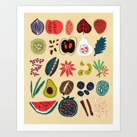 spice Art Prints featuring Fruit and Spice Rack by Picomodi