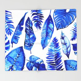 Jungle Leaves & Ferns in Blue Throw Blanket