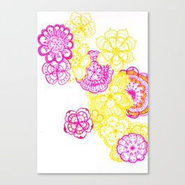 28. Colourful Pink and Yellow Flower in Henna World Canvas Print