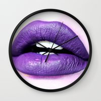 lips Wall Clocks featuring Lips by Wanker & Wanker