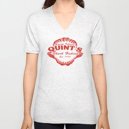 Quint's Shark Fishing Amity Island T-Shirt Tee Jaws Funny 70's Movie T Orca red Unisex V-Neck