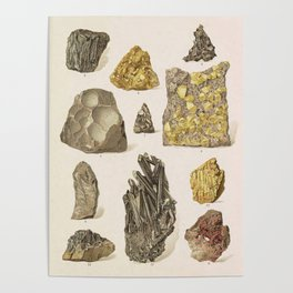 Vintage Gold Minerals Poster