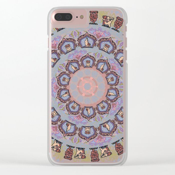 English Bulldog yoga Medallion Clear iPhone Case
