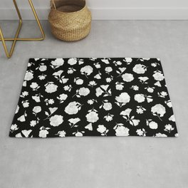 White on Black Shadow Bloom Rug