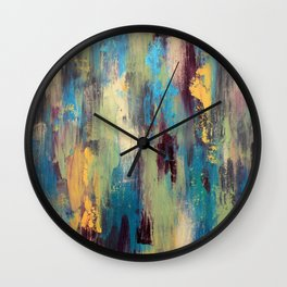Palette Knife Paint - Green, purple and blue Wall Clock
