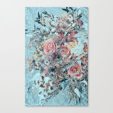 Lush vintage floral pastel wood panel Canvas Print