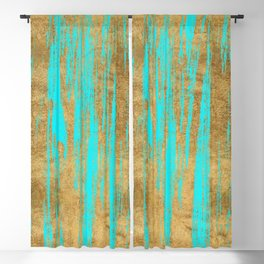 Modern turquoise gold watercolor artistic brushstrokes Blackout Curtain