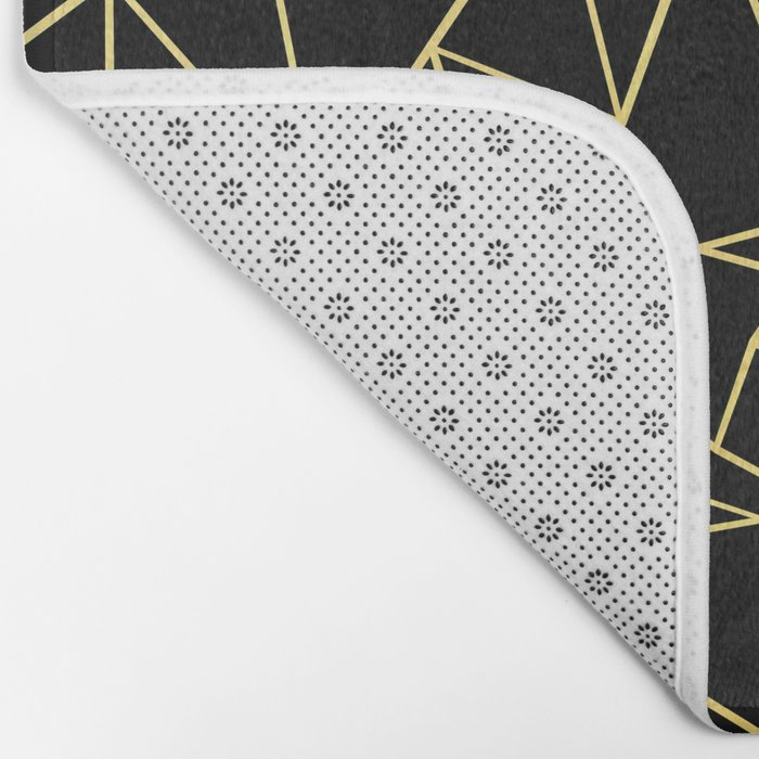 Abstract Outline Grid Gold Bath Mat
