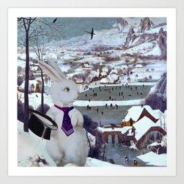Rabbit in the Snow Composite - Pieter Bruegel the Elder Art Print