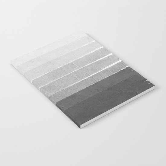 Brushstroke - Ombre Grey, Charcoal, minimal, Monochrome, black and white, trendy,  painterly art  Notebook
