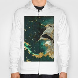 Abstract Pour Painting Liquid Marble Abstract Dark Green Painting Gold Accent Agate Stone Layers Hoody