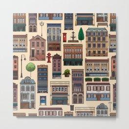 Vintage white brown architecture town pattern Metal Print