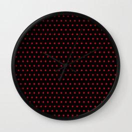 Polka / Dots - Red / Black Wall Clock