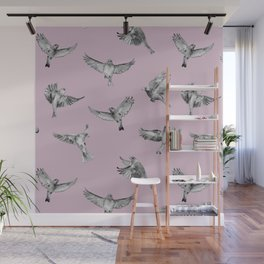 Birds in Flight in Pink and Grey Wall Mural