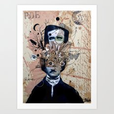 POE WITH EXAGERRATED THOUGHT Art Print