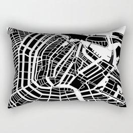 Amsterdam, Netherlands - Black Map Rectangular Pillow
