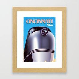 cincinnati ohio vintage style travel poster Framed Art Print