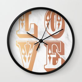 Rose Gold Marble Love Circus Typography Print Wall Clock