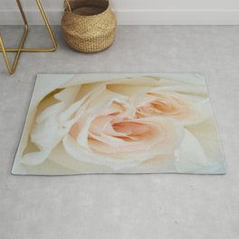 Close Up View Of A Beautiful White Rose Rug