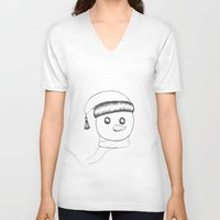 snowman V-neck T-shirts featuring snowman by gaus