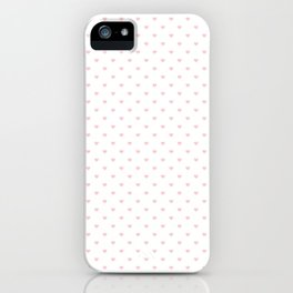 Mini Millennial Pink Pastel Love Hearts on White iPhone Case