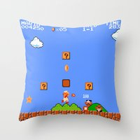 mario bros Throw Pillows featuring Super Mario Bros by Trash Apparel