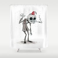 skeleton Shower Curtains featuring Skeleton by Junkykid