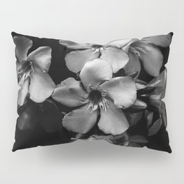 Oleander flowers in black and white Pillow Sham