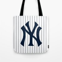 yankees Tote Bags featuring Yankees MLB by Minimal Luck