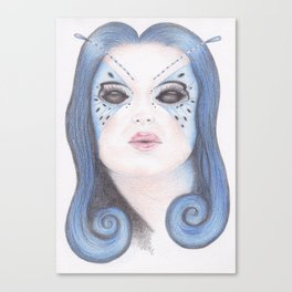 Blue Butterfly Girl Canvas Print