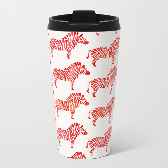 Zebras – Red Palette Metal Travel Mug