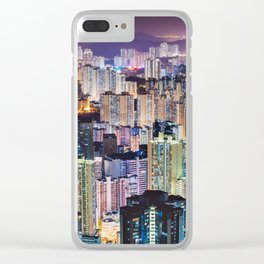 Kam Shan Country Park City-scape, Hong Kong nighttime portrait #1 Clear iPhone Case