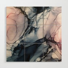 Blush, Navy and Gray Abstract Calm Clouds Wood Wall Art