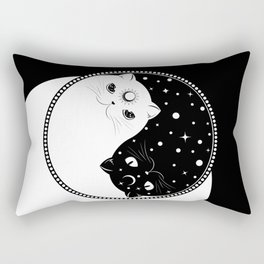 Cartoon black and white cats, yin yang sign Rectangular Pillow