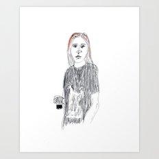 Biro and coloured pencil portrait  Art Print