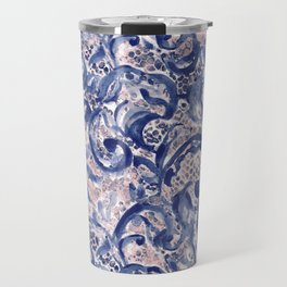 Vinage Lace Watercolor Blue Blush Travel Mug