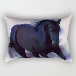 A Friesian foal's morning joy Rectangular Pillow