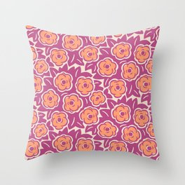 Flower Bouquet Pattern Magenta and Orange Throw Pillow