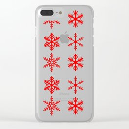 red snowflake seamless pattern Clear iPhone Case