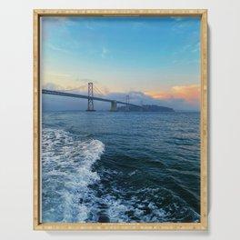Vibrant Sunset San Francisco Bay Bridge Tumultuous Ocean Serving Tray