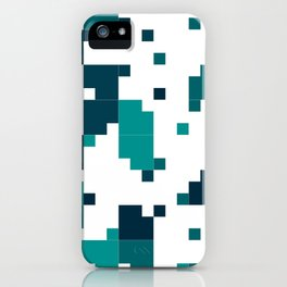 Take me to the bottom of the ocean - Random Pixel Pattern in shades of blue green iPhone Case