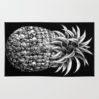 ornate Area & Throw Rugs featuring Ornate Pineapple by BIOWORKZ
