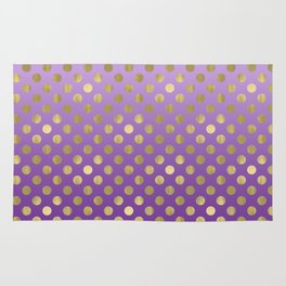 Purple Ombre Gold Dots Rug