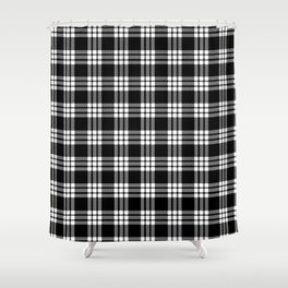 MacFarlane Black + White Tartan Modern Shower Curtain