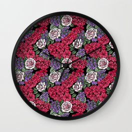Chevron Floral Black Wall Clock