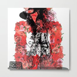 Floral Fashion Red Metal Print