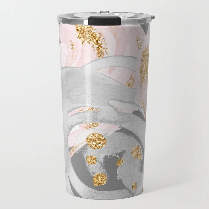 Night Rose Garden Gray Travel Mug