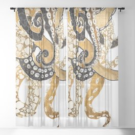 Metallic Octopus Sheer Curtain